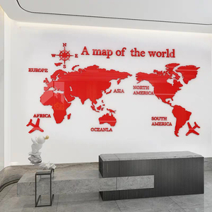 Image 4 - Large size World Map Acrylic 3D Wall Stickers for Living Room Sofa Background Mirror Wall Stickers DIY Art Home Decoration