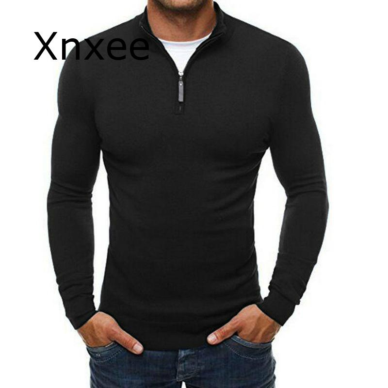 Autumn Men's Sweater Pullovers Simple Style Knitted V Neck Sweater Jumpers Thin Male Knitwear Blue Navy Black M-3XL