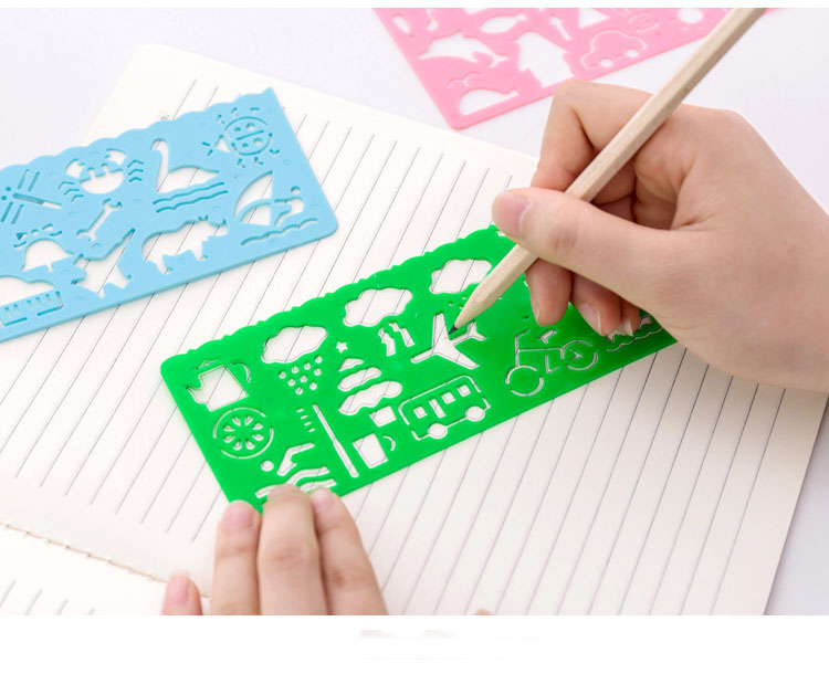 4pcs Stationery Candy Color Ruler Oppssed Drawing Template Free Shipping