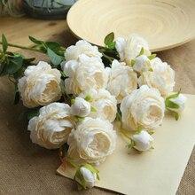 5 Pcs Artificial Rose Flowers Simulation Flannel Bouquet Home Party Wedding Decoration
