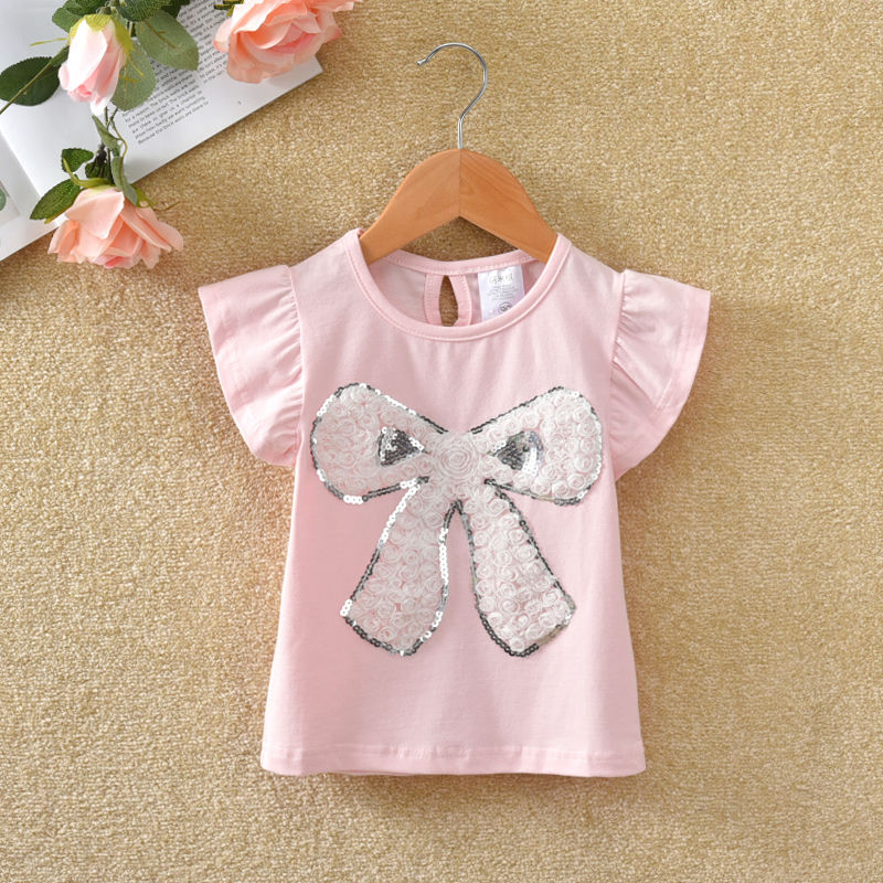 VIDMID Summer Fashion  T-shirt Children Girls Short Sleeves  Tees Baby Kids Cotton Tops For Girls Clothes 1- 7Y  P1054 1
