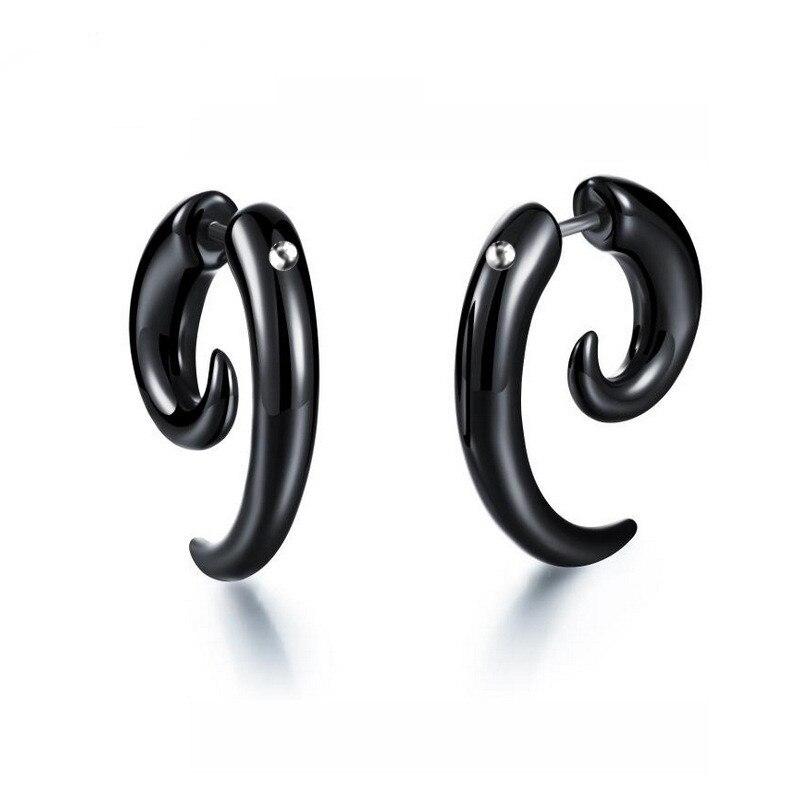 Unisex Luxury Brand Punk Style Black Stud Earrings For Women Horn Shaped Spiral Snail Earrings Cute Earings Fashion Jewelry