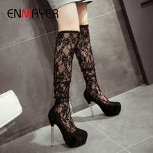 ENMAYER Sexy Lace Super High Women Shoes PU Thin Heels Round Toe Slip-On Shoe and Bag Set TPR Embroider Red Shoes Woman Black african lady aso ebi shoes and bag set new italian shoes and clutches bag black elegant stones shoes and bag matching sb8173 4