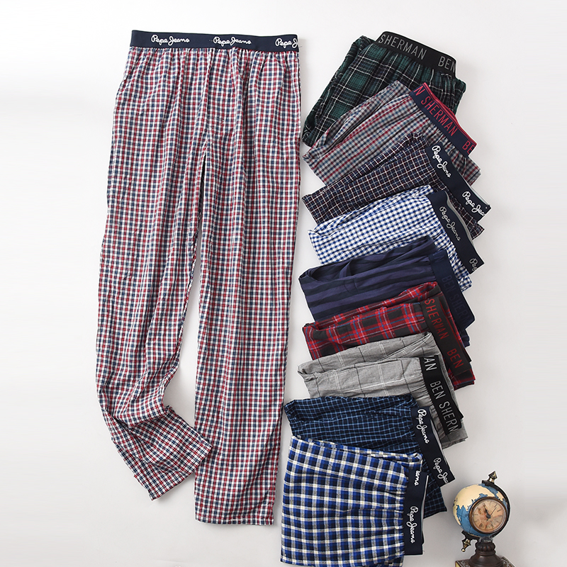 New Men's Cotton Home Pants Thin Pants Sleep Bottoms Plaid