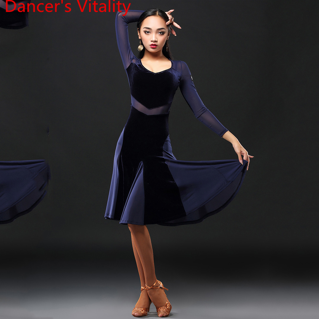Latin Dance Performance Clothes Women Adults 2 Colors Slim Fit Dress Professional Rumba Samba Tango Cha Cha Dancing Stage Wear
