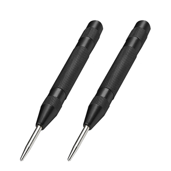2 Pcs Automatic Center Hole Punch Spring Loaded 5 Inch Adjustable Impact Hand Tool for Metal Wood,Black 5 pcs 4 pins spring loaded push type speaker terminal board 64x25mm