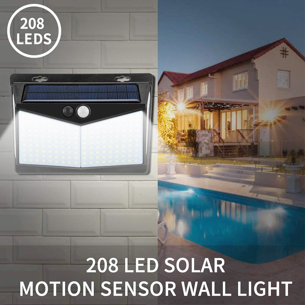 208 LEDs Solar Light Motion sensor wireless wall light waterproof IP65 solar safety light