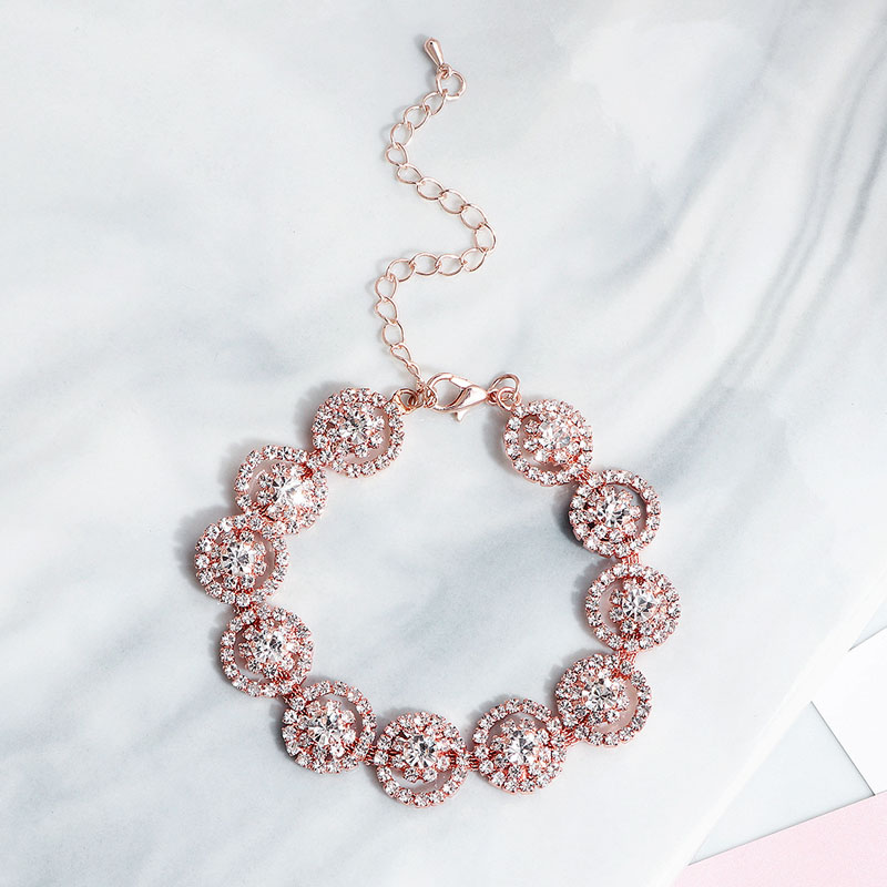 Floralbride Rose Gold Color Trendy Charm Crystal Rhinestone Fashion Women Bracelet Girls Bridal Wedding Bangle