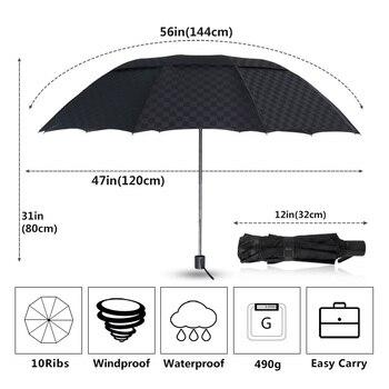 144cm Double Layer Large Umbrella Rain Women Dark Grid Travel Business Umbrella 3Folding Windproof Big For Men Women Umbrellas