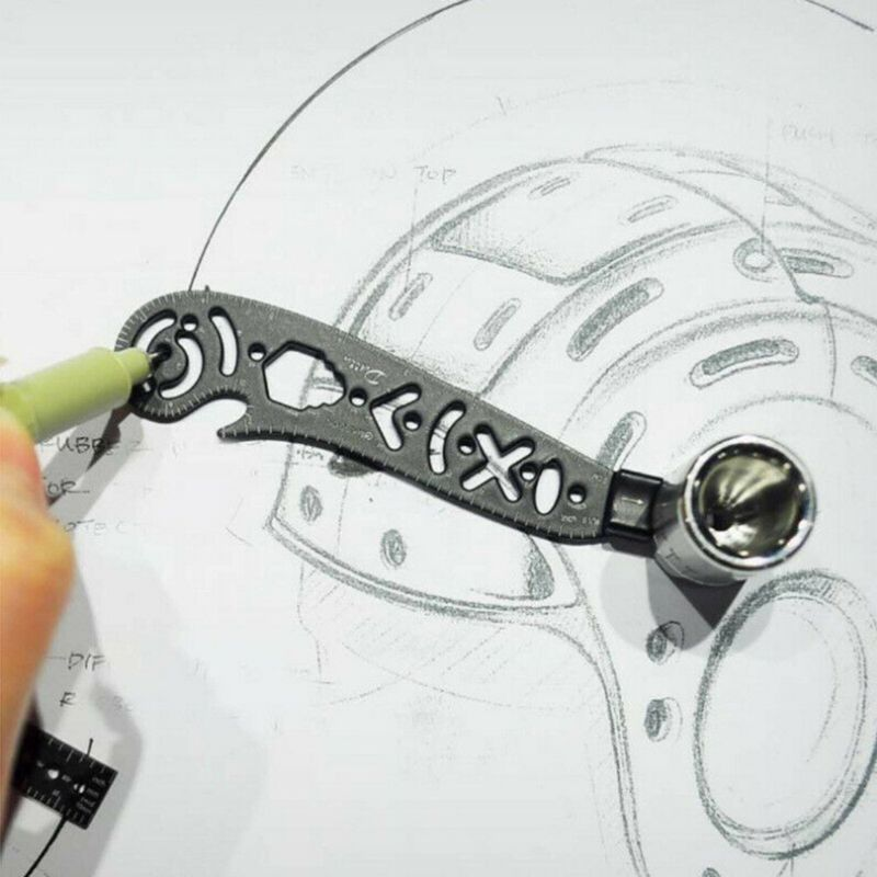 Multi Function Drawing Ruler Magnetic EDC Tool Mini Wrench Bottle Opener Compass Protractor Drawing Template Hotselling 27RD(China)