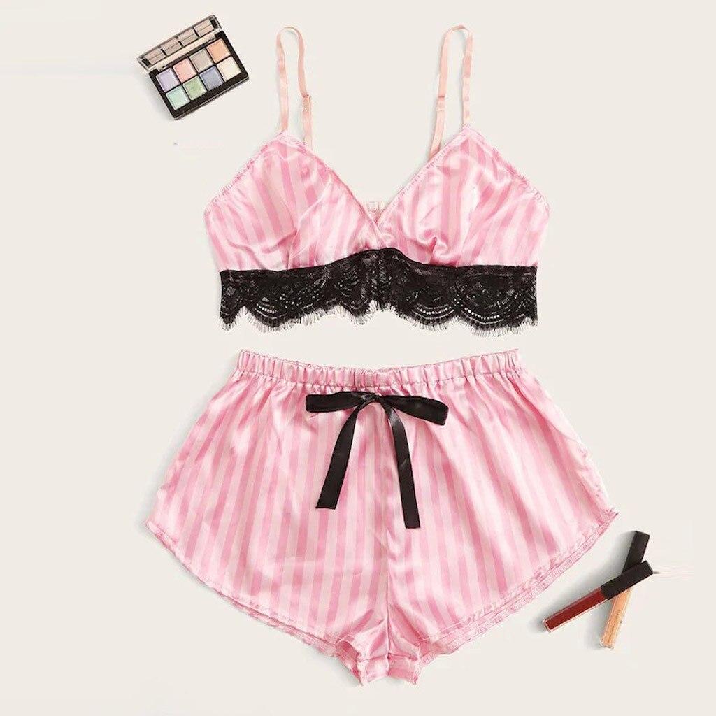 Sexy Women Lace Satin Sleepwear Set Fashion Solid Wireless Camisole Bowknot Shorts Pajamas Set Conjunto Cueca 2019 Hot Sale
