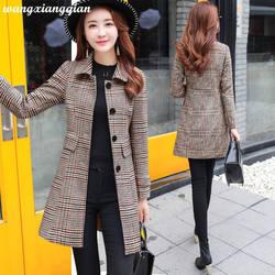 Moda feminina casaco de lã outono inverno mid-length casaco de poliéster xadrez magro botão de bolso duplo-breasted camelo outwear z25