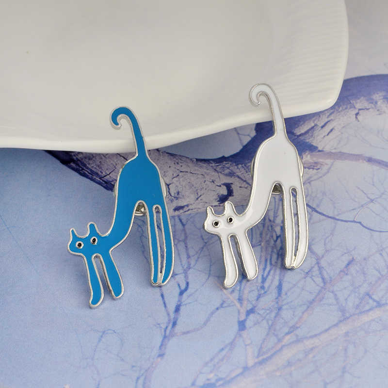 Wit Rood Blauw Zwarte Kat Kitten Broche Metalen Animal Pins Knop Zak Denim Jas Kraag Badge Sieraden Gift voor Vrouwen mannen