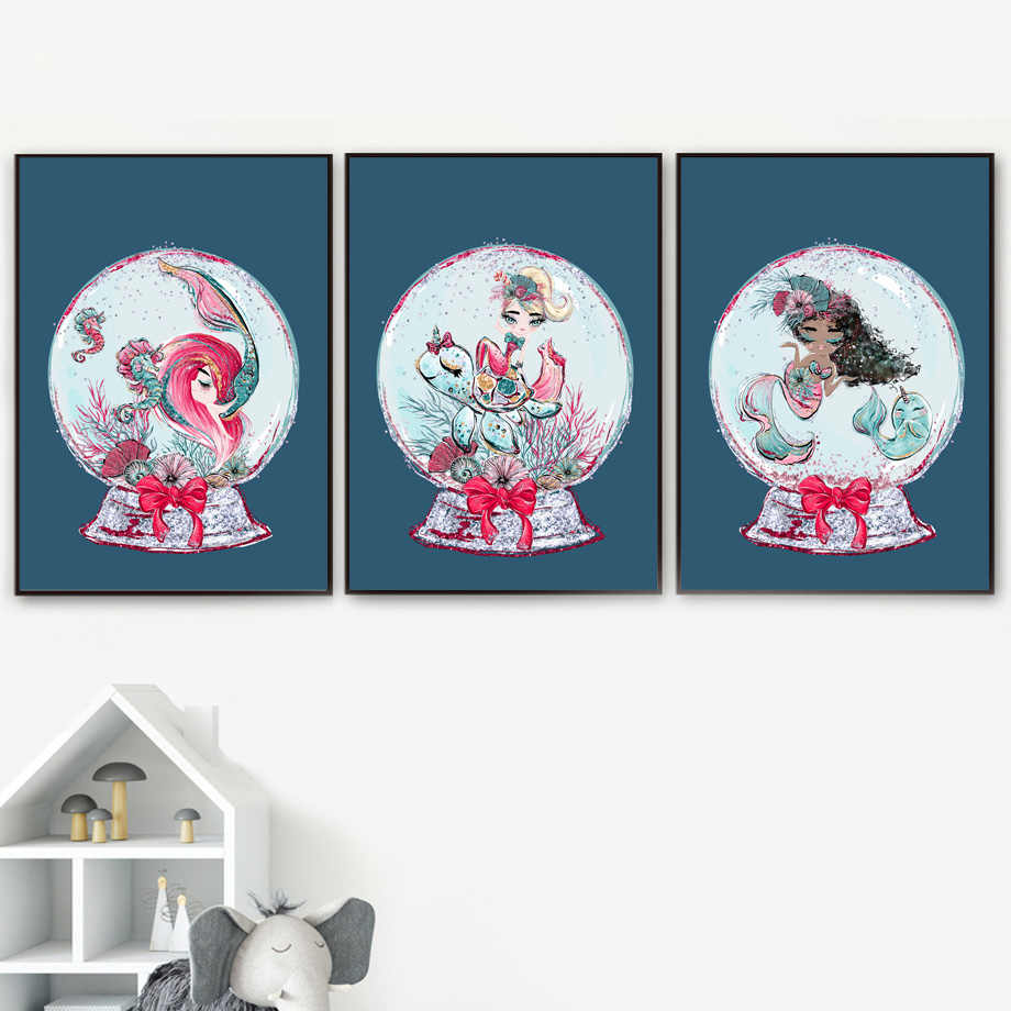 Crystal Ball Mermaid Undersea World Wall Art Print Canvas Painting Nordic Canvas Poster And Prints Wall Pictures Kids Room Decor