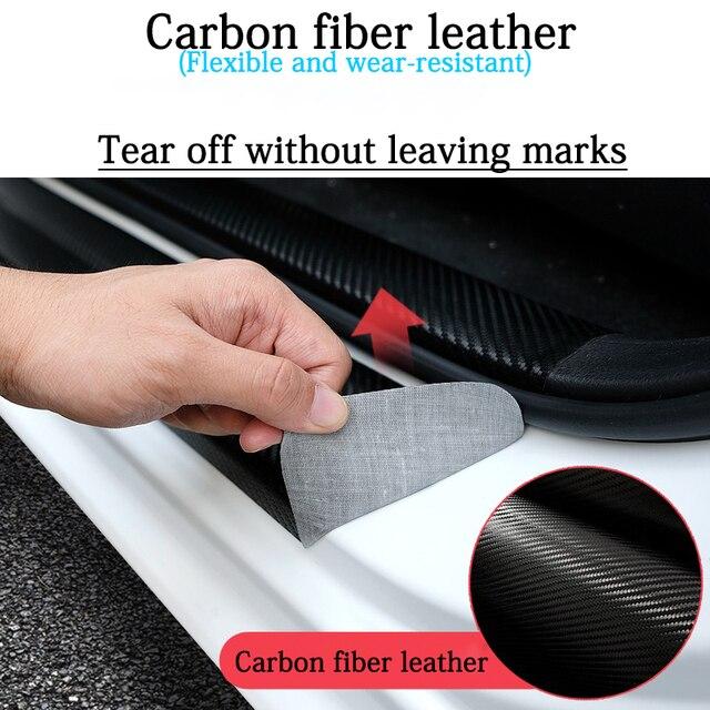 4 pièces porte de voiture en cuir en cuir vinyle autocollants seuil garde pour Volvo XC40 voiture autocollant éraflure plaque pédale couverture garniture Auto accessoires