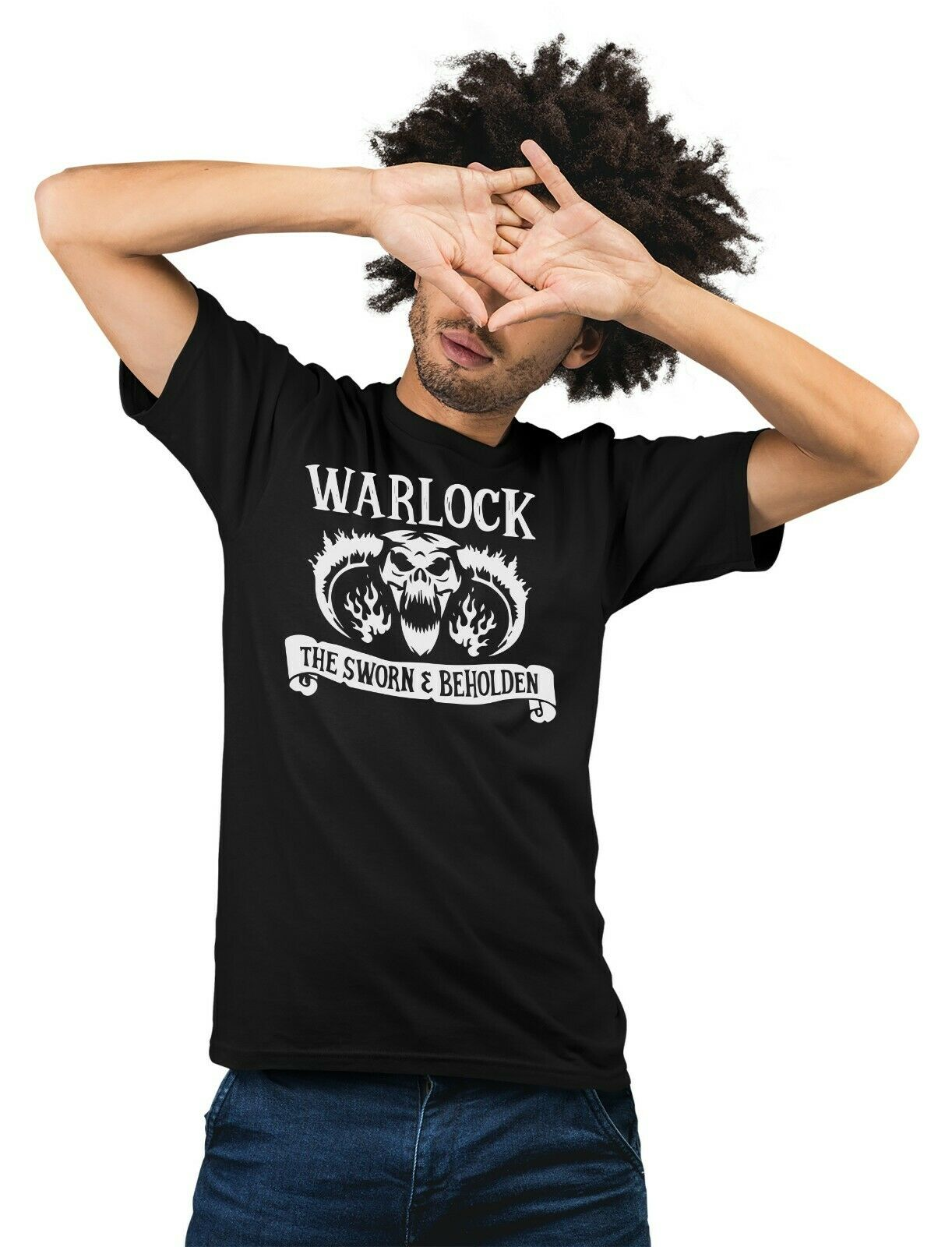 WARLOCK Class Dungeon & Dragons RPG T-Shirt Fantasy Board Game D20 Adults T-Shir image