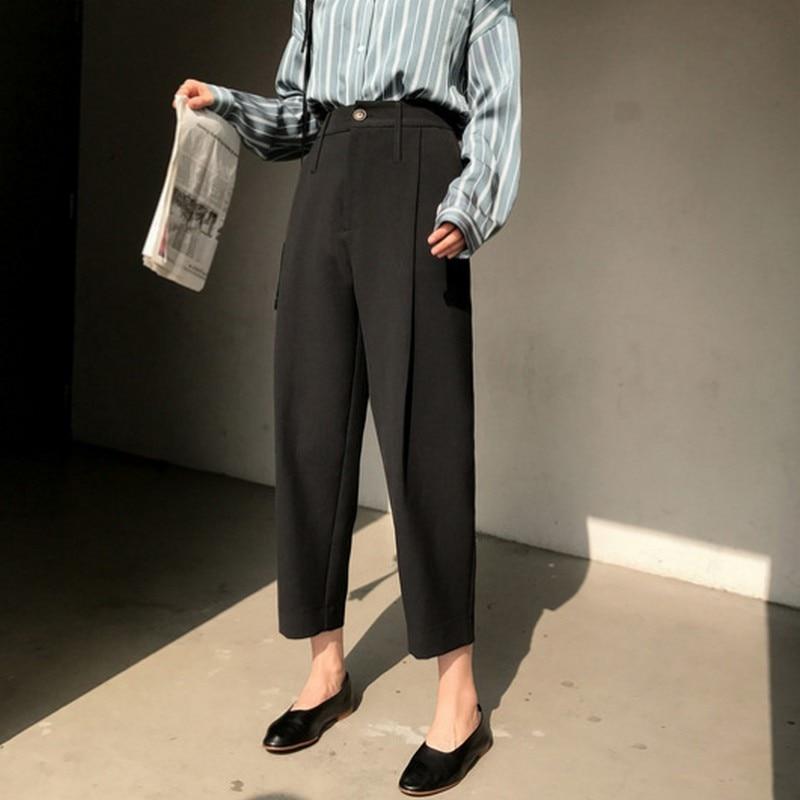 Women's Casual Suit Pants 2019 Spring High Waist Loose Harem Trousers New Fashion Chiffon Ankle-length Pants Plus Size Trousers