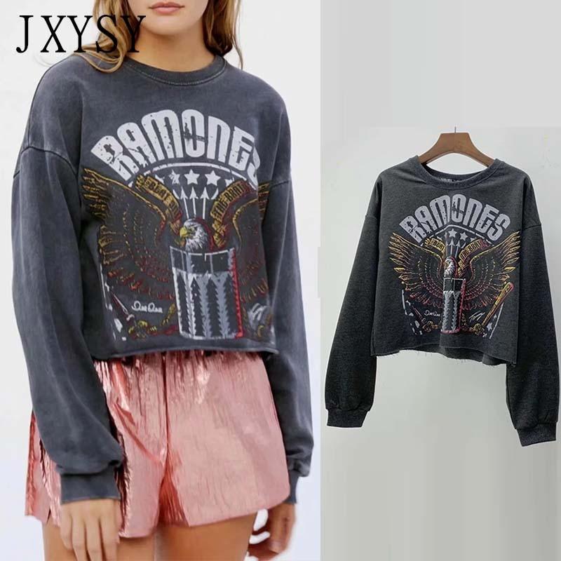 JXYSY Hoodies Women Sweatshirt 2019 Autumn Winter New High Street Vintage Print Hooded Sweatshirt Women Tops