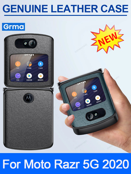 Grma Original Genuine Vegan Leather Protective Phone Case For Motorola Moto Razr 5G 2020 Release Anti-Dropped Luxury Back Cover motorola hd vehicle navigation dock for motorola droid razr hd razr maxx hd retail packaging