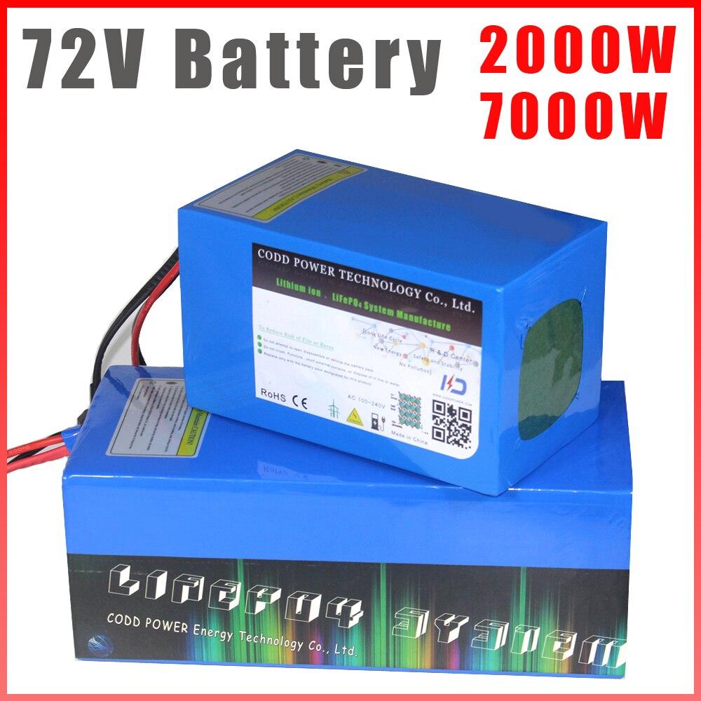 72V Paquete de batería de bicicleta eléctrica 72V 2000W 3000W 5000W eléctrico batería de Scooter 72V 20Ah 30Ah 40Ah 60Ah batería de litio