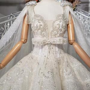 Image 5 - HTL973 бальное платье, свадебные платья, съемный рукав, шаль, круглый вырез, бант, пояс, бисер, свадебные платья с хвостом, халат с блестками, mariage femme