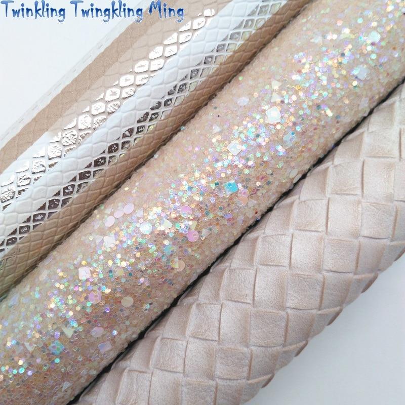 Бежевая блестящая ткань, змеиная синтетическая кожа, тканые листы из искусственной ткани для банта A4 21x29 см мерцание мин XM005D