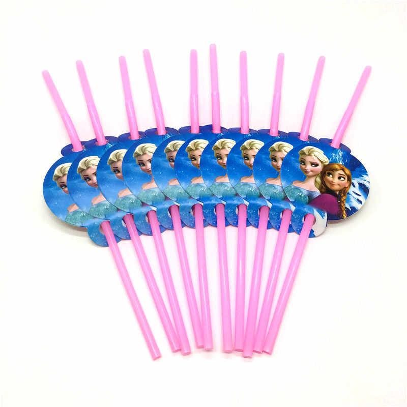 Замороженные 10 шт./лот одноразовые пластиковые соломинки розовые питьевые соломинки с принтом принцессы Анны и Эльзы детские украшения для дня рождения