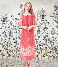 Summer Ladies Cotton Silk Long Plus Size Sleepwear Princess Nightdress Can Wear Outside Lounge Holiday Travel Beach Dress