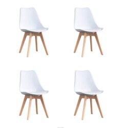 Набор из четырех обеденных стульев в скандинавском средневековом ретро стиле, ножки из массива дерева, из бука, подходит для кухни, столовой