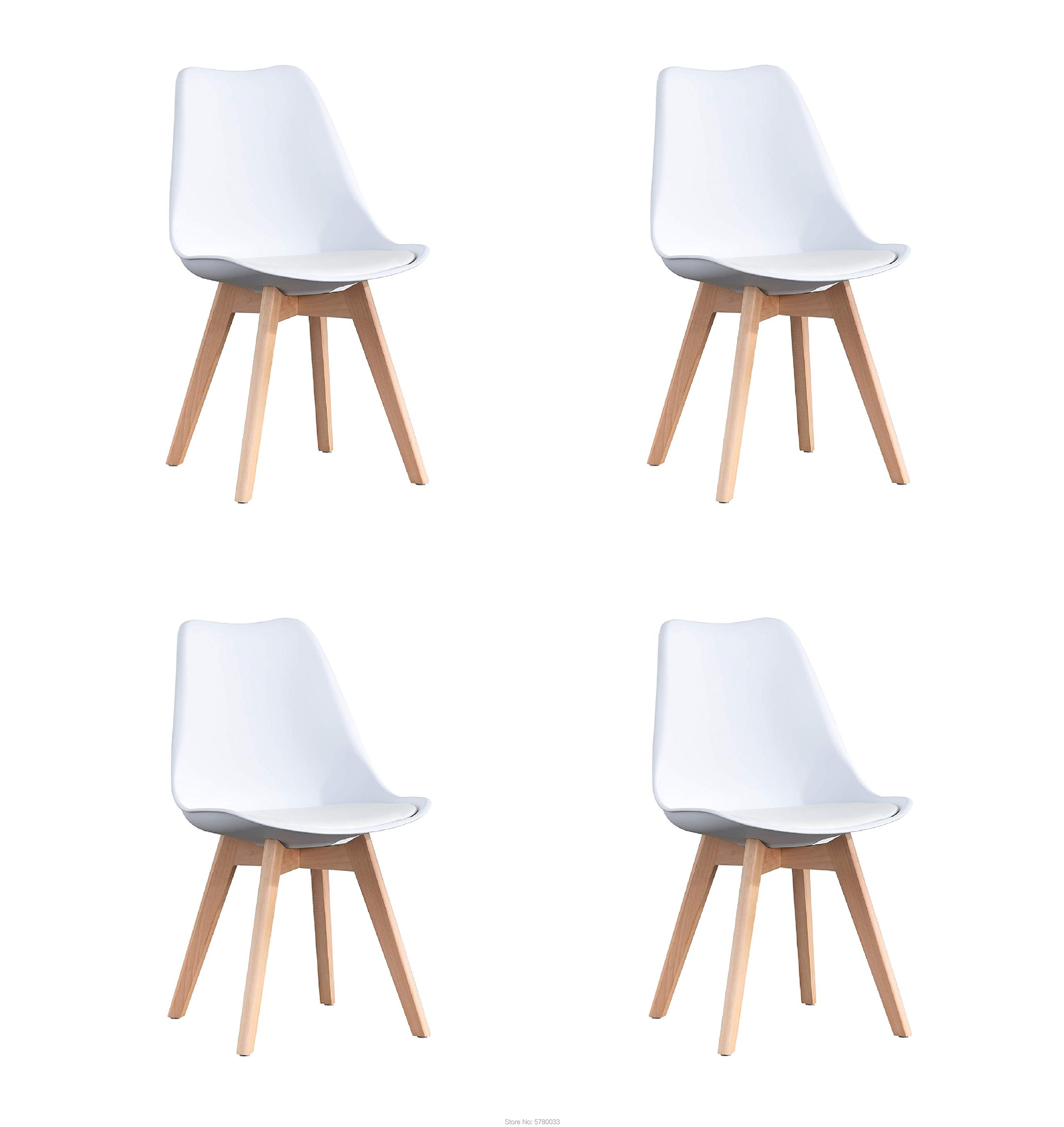 A Set Of Four Nordic Medieval Retro Style Dining Chairs, Solid Wood Feet, Beech Wood, Suitable For Kitchen, Dinings Room