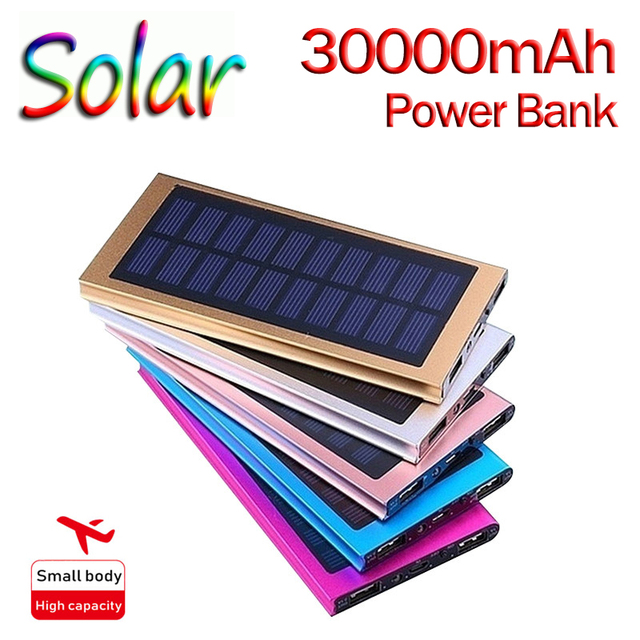 30000mAh Solar Power Bank Large Capacity Ultra Thin 9mm with LED Light External Solar Charger travel Powerbank for All Phone 1