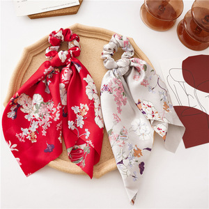 Bohemian Big Flower Scrunchies Long Streamers Bow Hair Scarf Women Girls Sweet Hair Rope Ties Fashion Hair Accessories Headwear