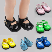 18 inch Girl Doll Shoes Leather with Round Head and Buckle Fit 43cm Height American Toy Accessories