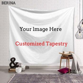 BERINA Custom Tapestry Wall Hanging Carpet Photo Custom Polyester Wall Cloth Yoga Mat Beach Towel Farmhouse Decor Tapestries