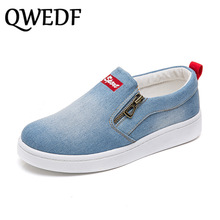 QWEDF 2019 Spring new Women Flats shoes Loafers Korean version canvas