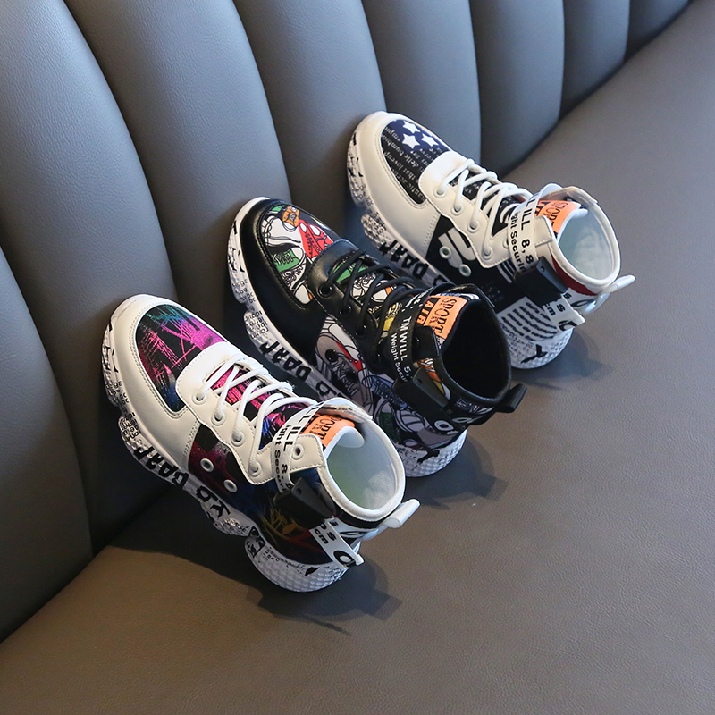 High Top Kids Sneakers Light Pupil Shoes Youth Shoes For Boys Children Basketball Shoes Toddler Sport Shoes Little Girl Shoes