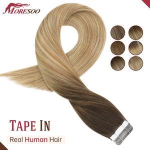 Balayage Hair Extensions Menselijk Haar Machine Remy Braziliaanse Haar Ombre Kleur Bruin En Blond Dubbelzijdig Tape Hair