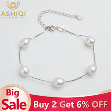 ASHIQI Genuine 925 Sterling Silver Bracelet For Women 7-8mm Natural Freshwater Pearl jewelry 4 Colours(China)