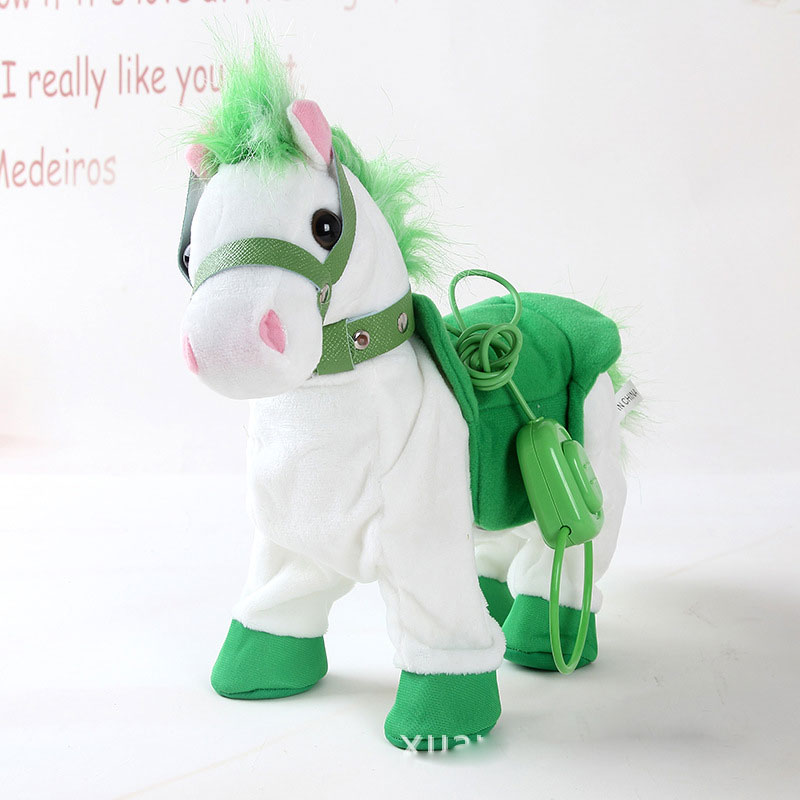 Купить с кэшбэком Robot Horse Electronic Interactive Horse Leash Plush Animal Pet Toy Walk Whinny Songs Music Toys For Children Birthday Gifts