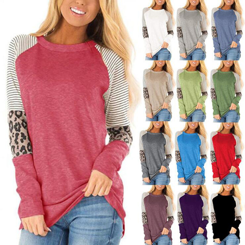 Madam Clothing OWLPRINCESS Autumn Clothing Women's 2019 New Style Women's Mixed Colors Crew Neck Long-sleeved T-shirt Women's