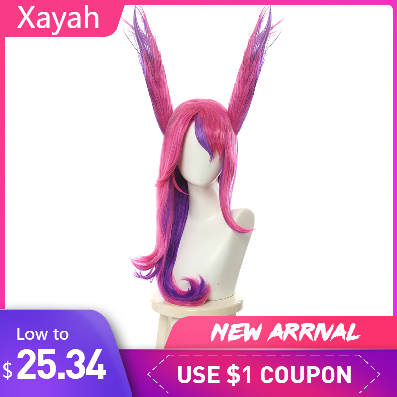 L-email Wig LoL Xayah Cosplay Wigs Star Guardians Cosplay Long Pink Purple Wig With Ears Heat Resistant Synthetic Hair Perucas