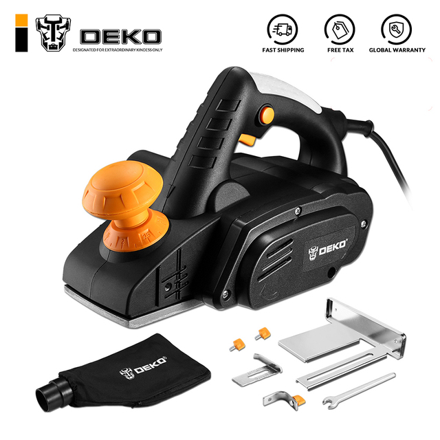 DEKO 220V 900W Electric Planer Plane Hand Held Power Tool Wood Cutting With Accessories