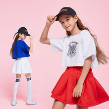 Summer Jazz Hiphop Suits Kids Skating Sports Tennis Suit Set Round Neck Short Sleeve Dance Children Two Piece