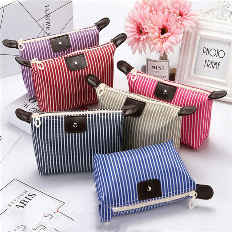 6 Color Dumpling Makeup Bag Unisex Striped Oxford Cosmetic Bag Soft Round Portable Korean Version MakeUp Bag Zipper Travel Bags