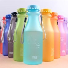 Plastic Sports Bottle For Water Unbreakable Frosted Leak-proof Plastic Kettle BPA Free Portable Water Bottle Travel Yoga