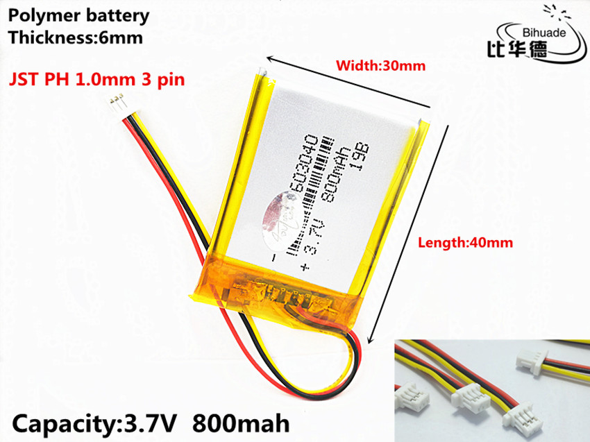 JST PH 1.0mm <font><b>3</b></font> <font><b>pin</b></font> <font><b>3.7V</b></font>,<font><b>800mAH</b></font> 603040 Polymer lithium ion / Li-ion battery for tablet pc BANK,GPS,mp3,mp4 image