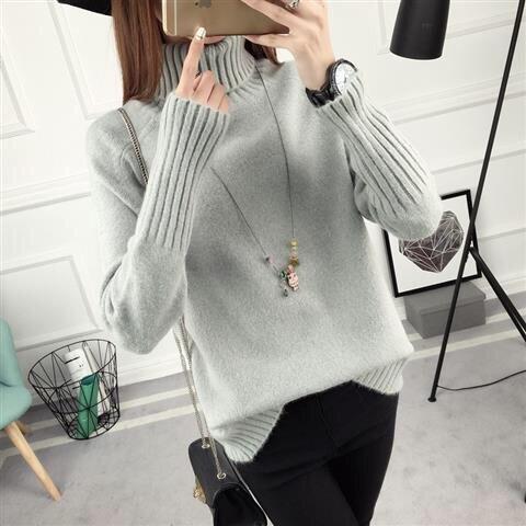 14 цветов,, осенне-зимний свитер, Женский вязаный свитер с высоким воротом, повседневный мягкий модный тонкий женский эластичный пуловер NS9097 - Цвет: Серый