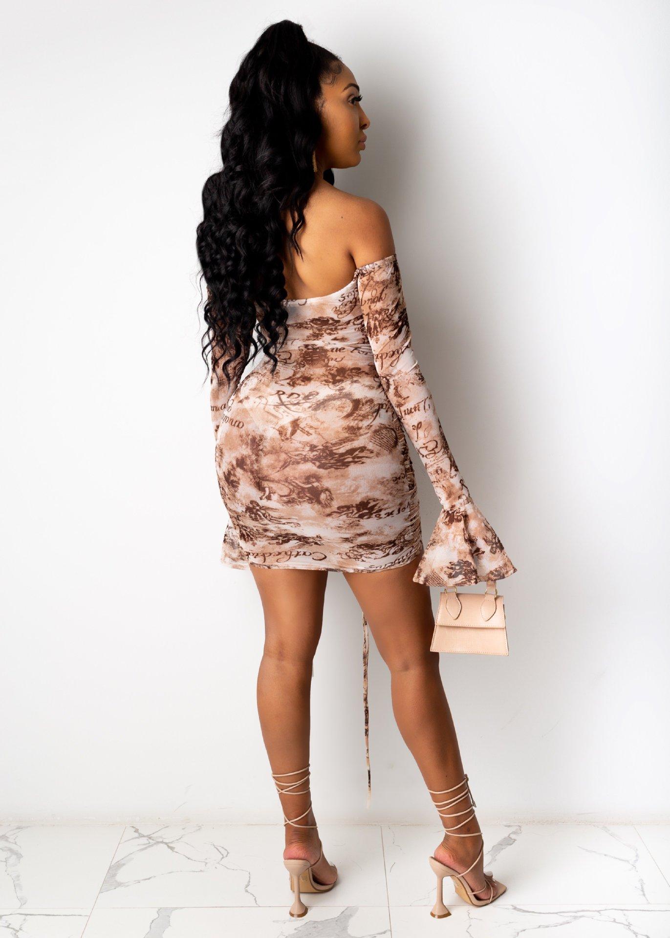 Hdb072b05ea264d3c9d3fbd0008c12021r - Adogirl Snake Print Long Sleeve Dress Women Evening Party Night Dresses Sexy Off Shoulder Drawstring Bodycon Slim Mini Dress
