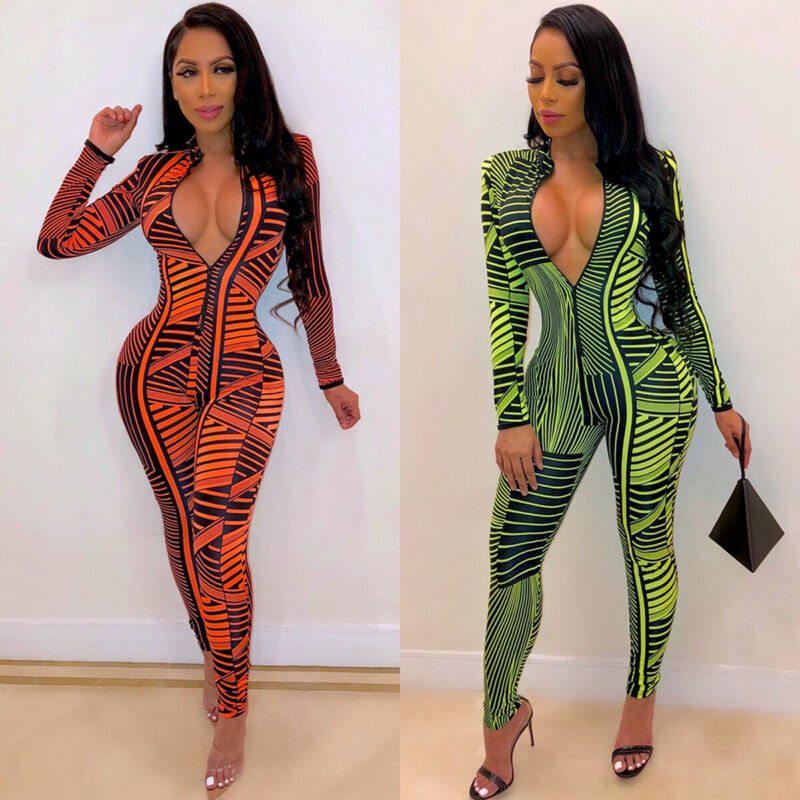 Fashion Ladies Women Long Sleeve Zipper Geometric Print Slim Skinny Bodycon Club Party Sexy Casual Jumpsuits Rompers