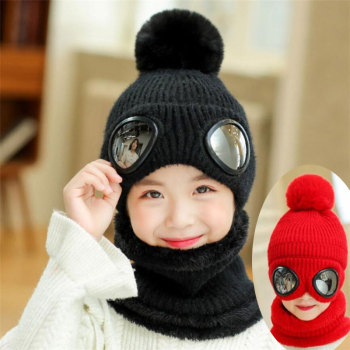 2019 Short Plush Inlayer Knit Hat And Scarf Set Child Winter Warm Pom Pom Cap Scarves Kids Pilot Aviator Hat Girls 2-8T W Women